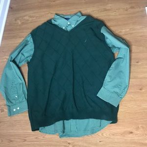Two piece 3XL Nautica Green Long Sleeve & Vest